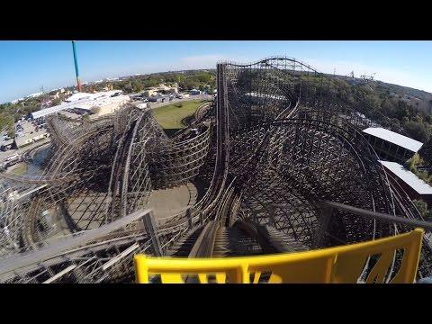 Gwazi wooden roller coaster POV at Busch Gardens Tampa