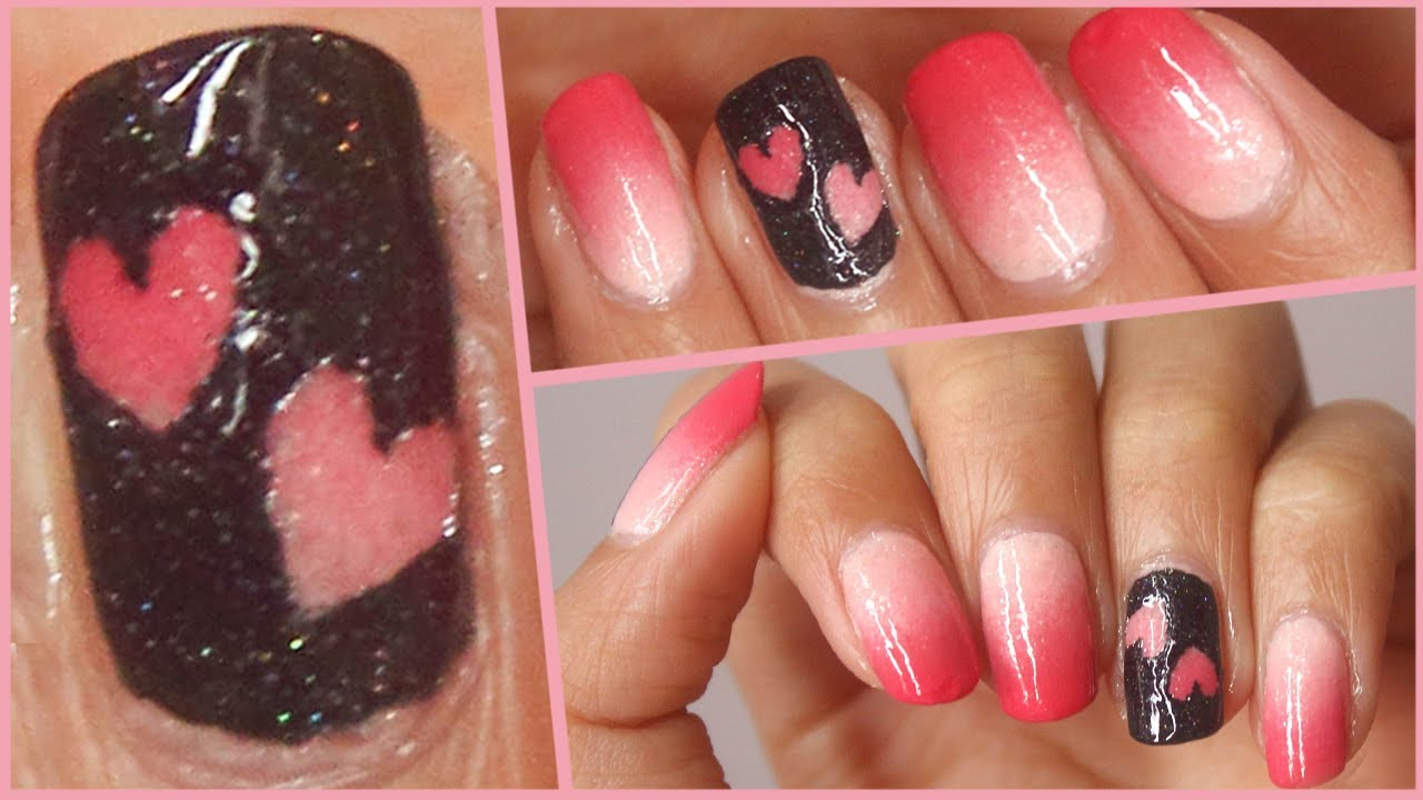 Valentine S Day Nails Pink Ombre Heart Youtube