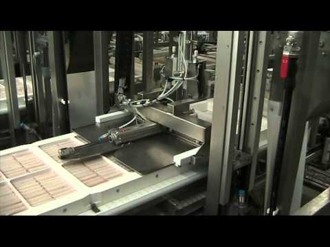 Automatic packaging line for sausages, crab-sticks and similar shape food products