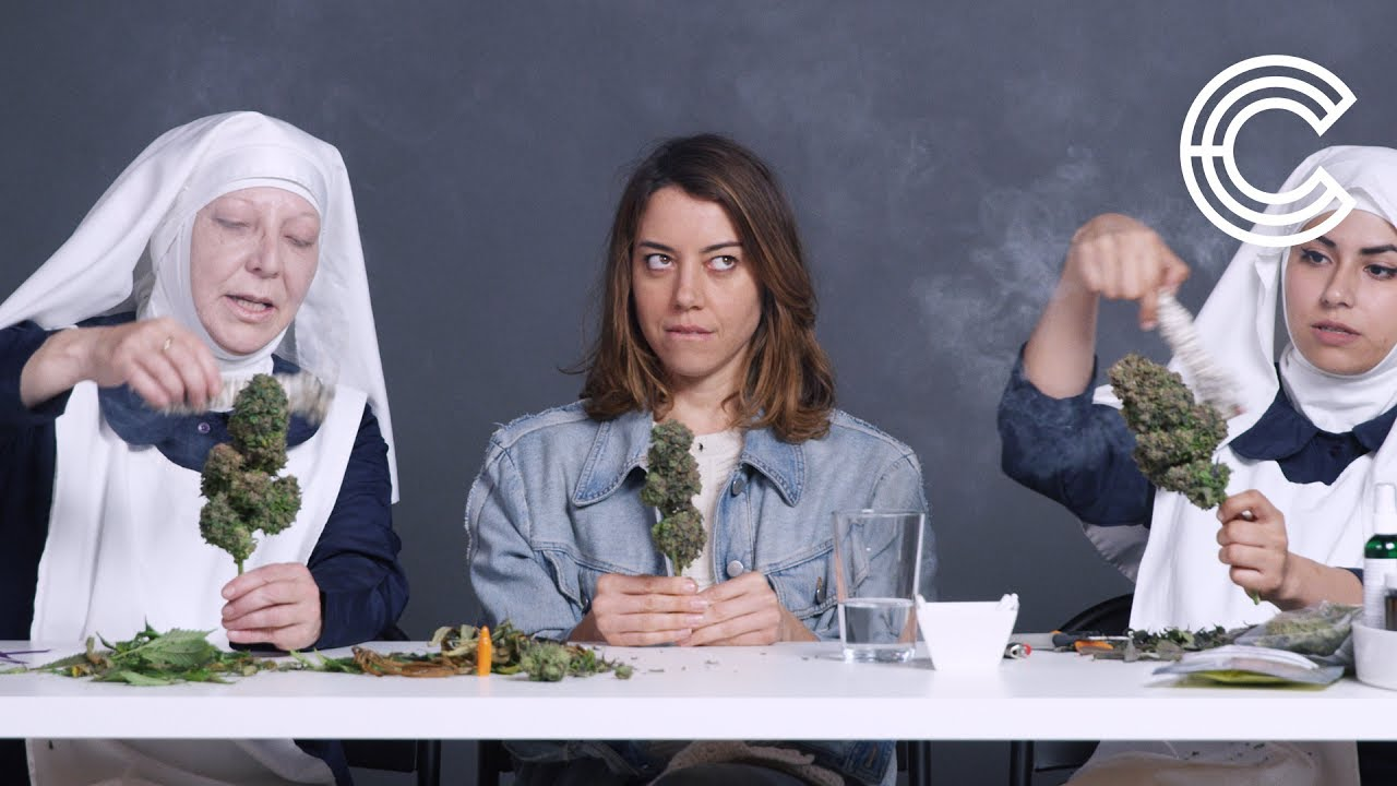 Aubrey Plaza Smokes Pot with the Weed Nuns | Strange Buds | Cut