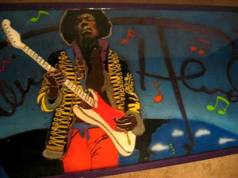 LED and Epoxy Resin Beer Pong Table Honoring Jimi Hendrix