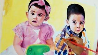 Acrylic Painting of Twins   Niya & Nihal   Timelapse   Portrait Painting