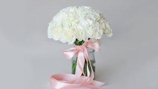 Белый свадебный букет из роз фрезии и эустомы - Как Собрать