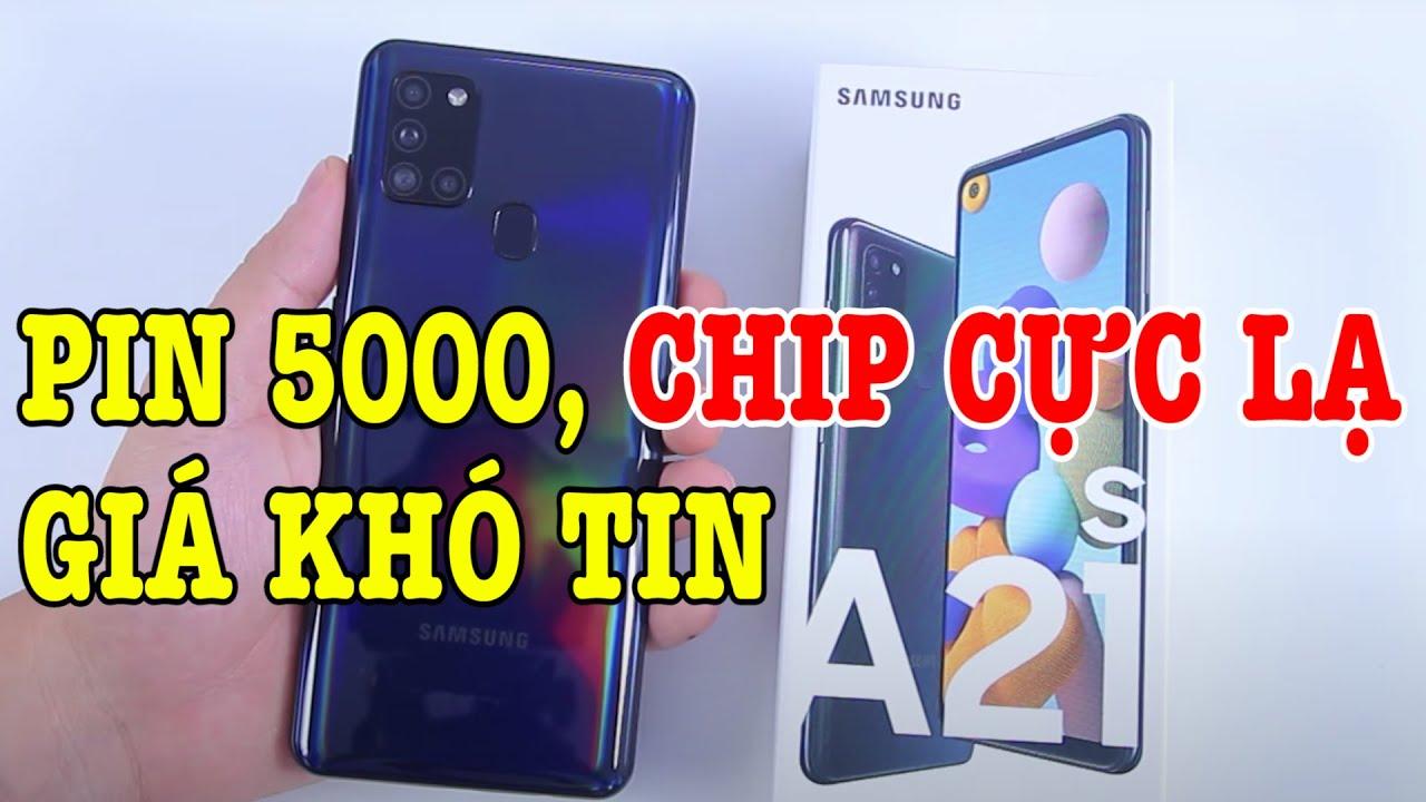 Mở hộp Galaxy A21s : Pin 5000mAh và chip lạ