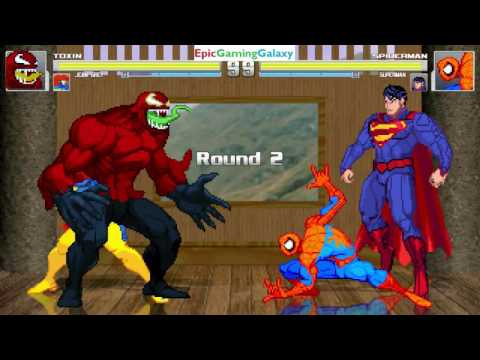 Superman And Spider-Man VS Toxin And Jean Grey In A MUGEN Match / Battle / Fight