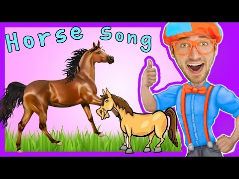 Thumbnail: Horses for Kids - Horse Song Nursery Rhymes by Blippi