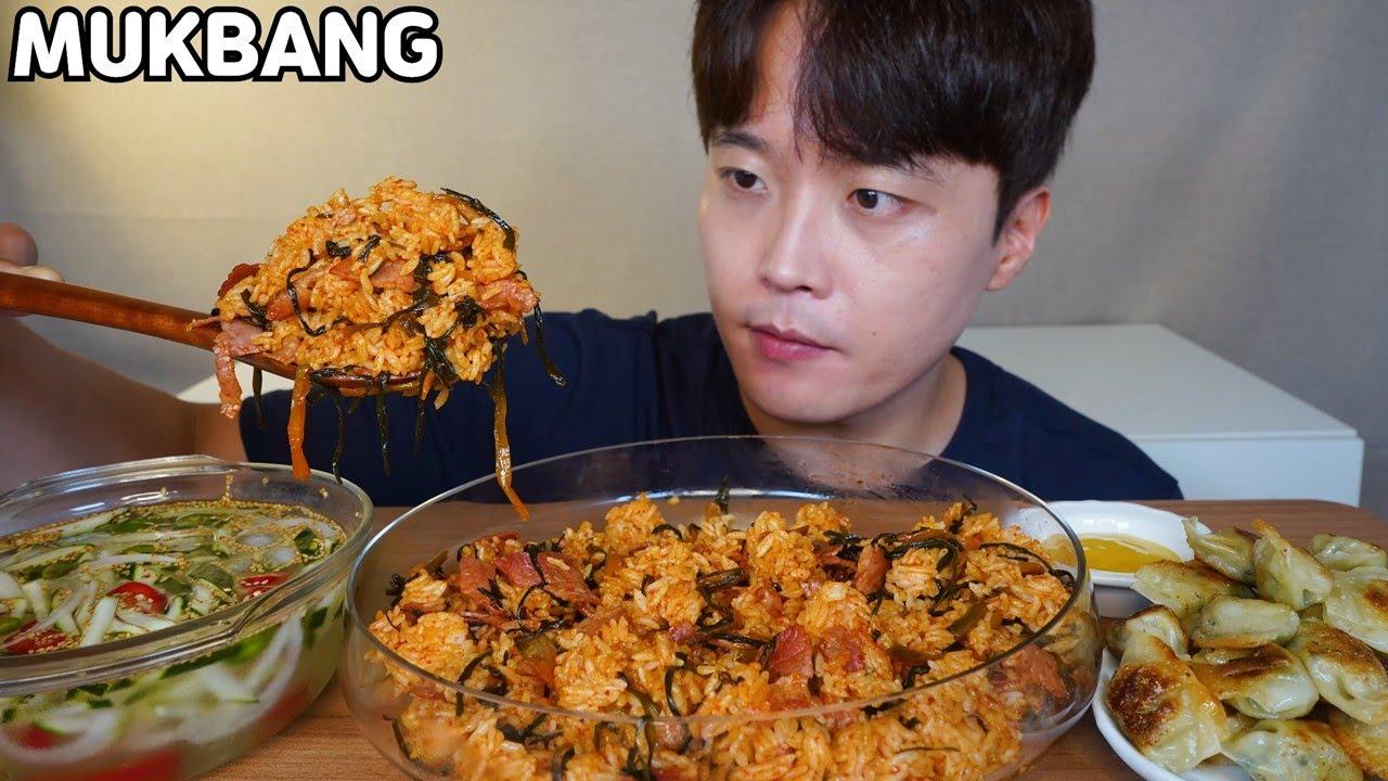 베이컨 파김치 볶음밥 오이냉국 물만두튀김 먹방 Bacon Kimchi Fried Rice Korean Food MUKBANG ASMR REAL SOUND EATING SHOW