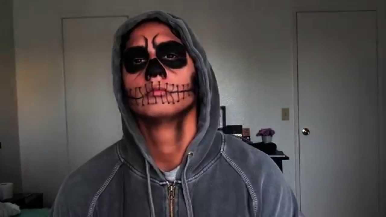 Halloween Men Makeup: Natural Skull - YouTube