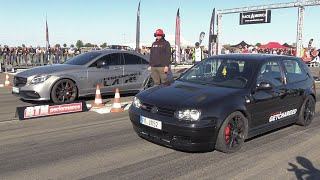 750HP VW Golf 4 1.8 Turbo vs 900HP Mercedes-Benz CLS63s AMG
