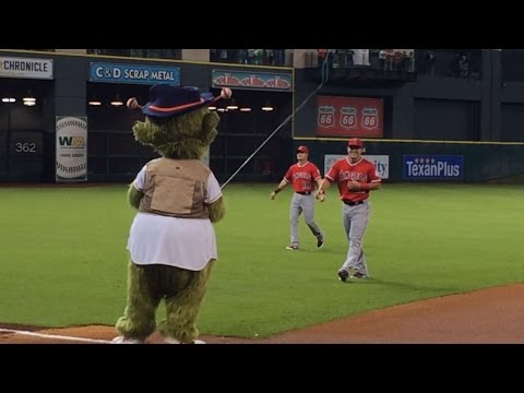 Houston Astros mascot Orbit goes fishing for Mike Trout