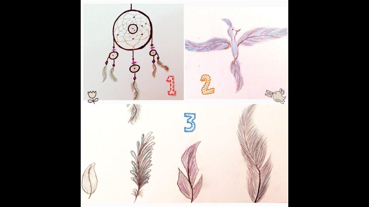 Préférence Dessiner un attrape rêve / des différentes plumes / un oiseau en  HO82
