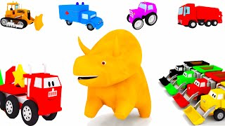 Learn with Dino the Dinosaur and the vehicules: trucks, trains, forklift, tiny cars...