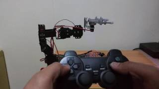arduino robot arm with claw 6dof controlled using ps2 wireless controller