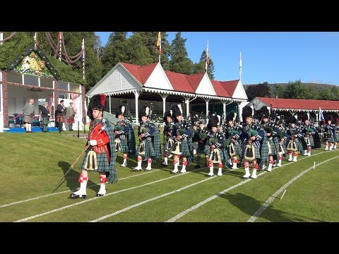 Braemar Gathering 2017 - Opening ceremony with parade around the games field by Ballater Pipe Band