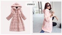 Верхняя одежда с Aliexpress   UNINICE Искусственные меховые пальто женские с капюшоном