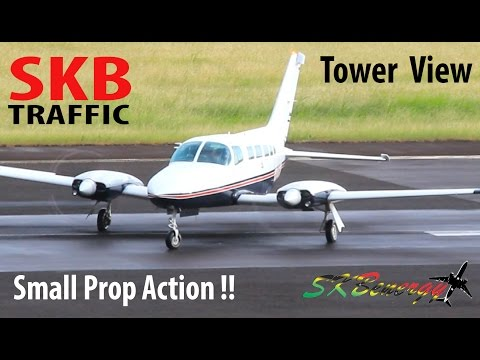 Tower View Small Prop Action !!! BN-2 Islander, Piper PA31,Piper PA-23-250 Aztec @ St. Kitts Airport