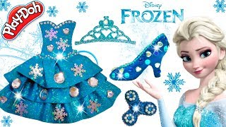 Play Doh Barbie Disney Princess Frozen Elsa Sparkle Shoes High Heels Dress Fidget Spinner Crown Toys