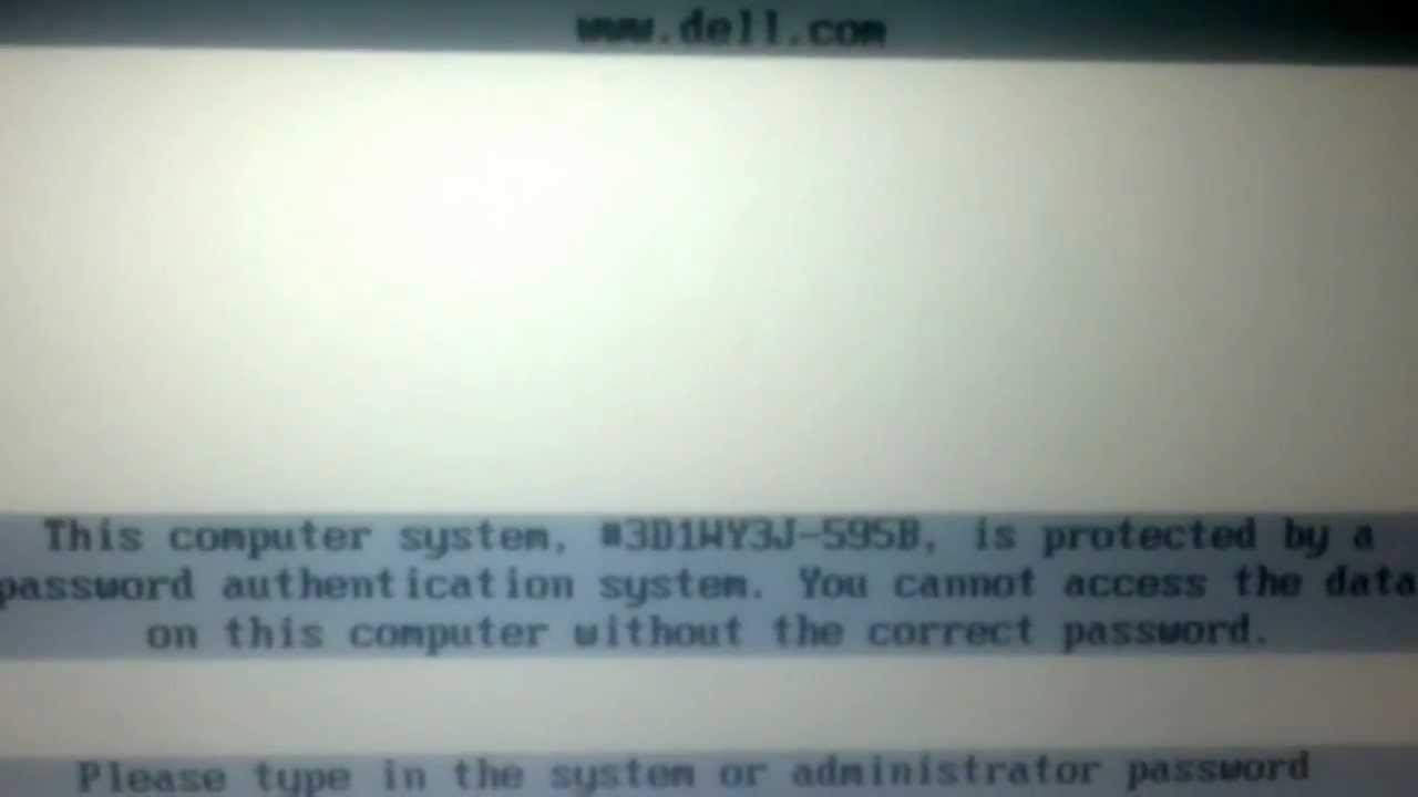 reset dell password authentication system
