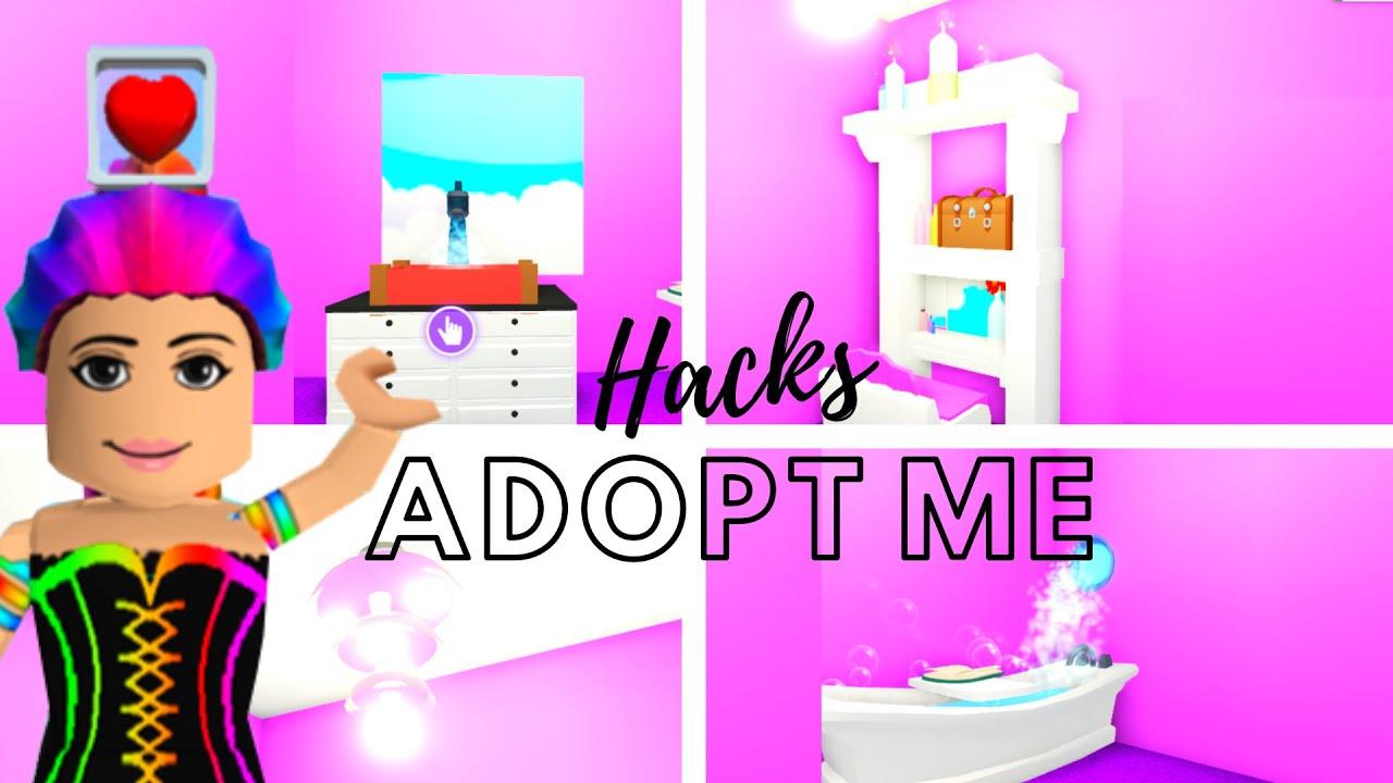 Adopt Me Building Hacks - Adopt Me Builds - Bathroom - YouTube