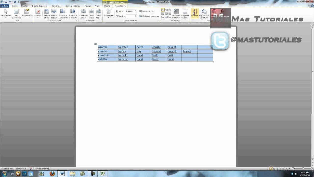 Word 2010 como ordenar alfabeticamente una tabla youtube word 2010 como ordenar alfabeticamente una tabla urtaz Image collections