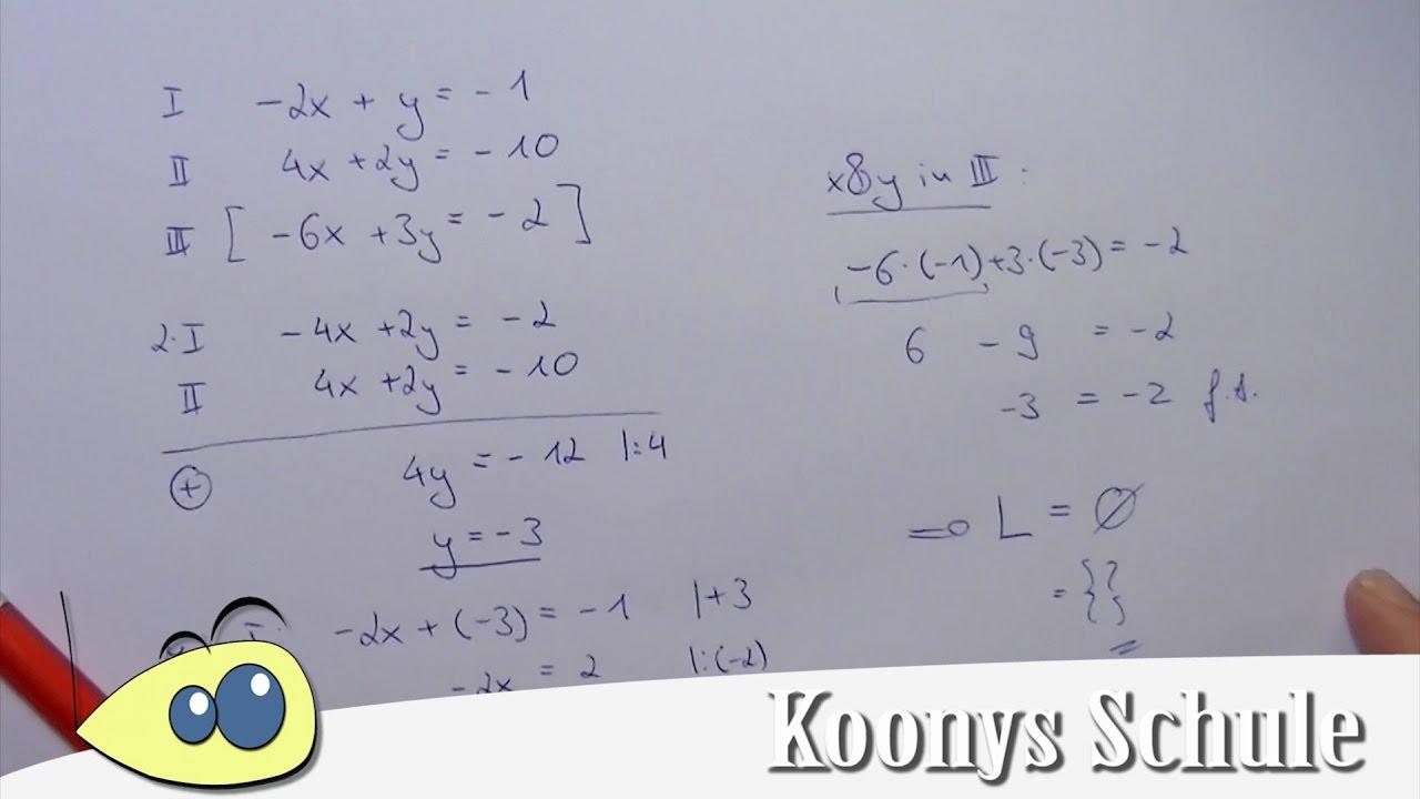 3 Gleichungen mit 2 Unbekannten, überbestimmtes LGS, Beispiel - YouTube