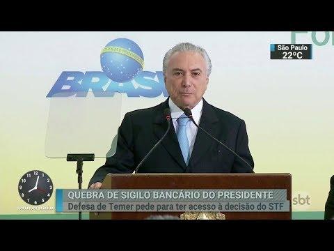 Defesa de Temer pede acesso à decisão que quebrou seu sigilo bancário | SBT Brasil (06/03/18)