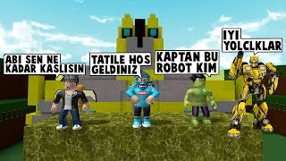 SUPER-heróis na história do robô/Roblox roleplay/construir um barco/Roblox inglês