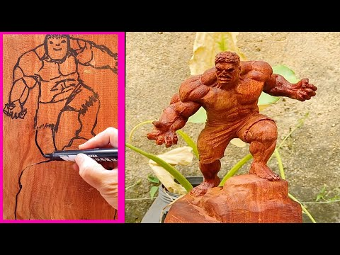 How To Make Wooden Hulk Statue 1 – Woodworking DIY #shorts