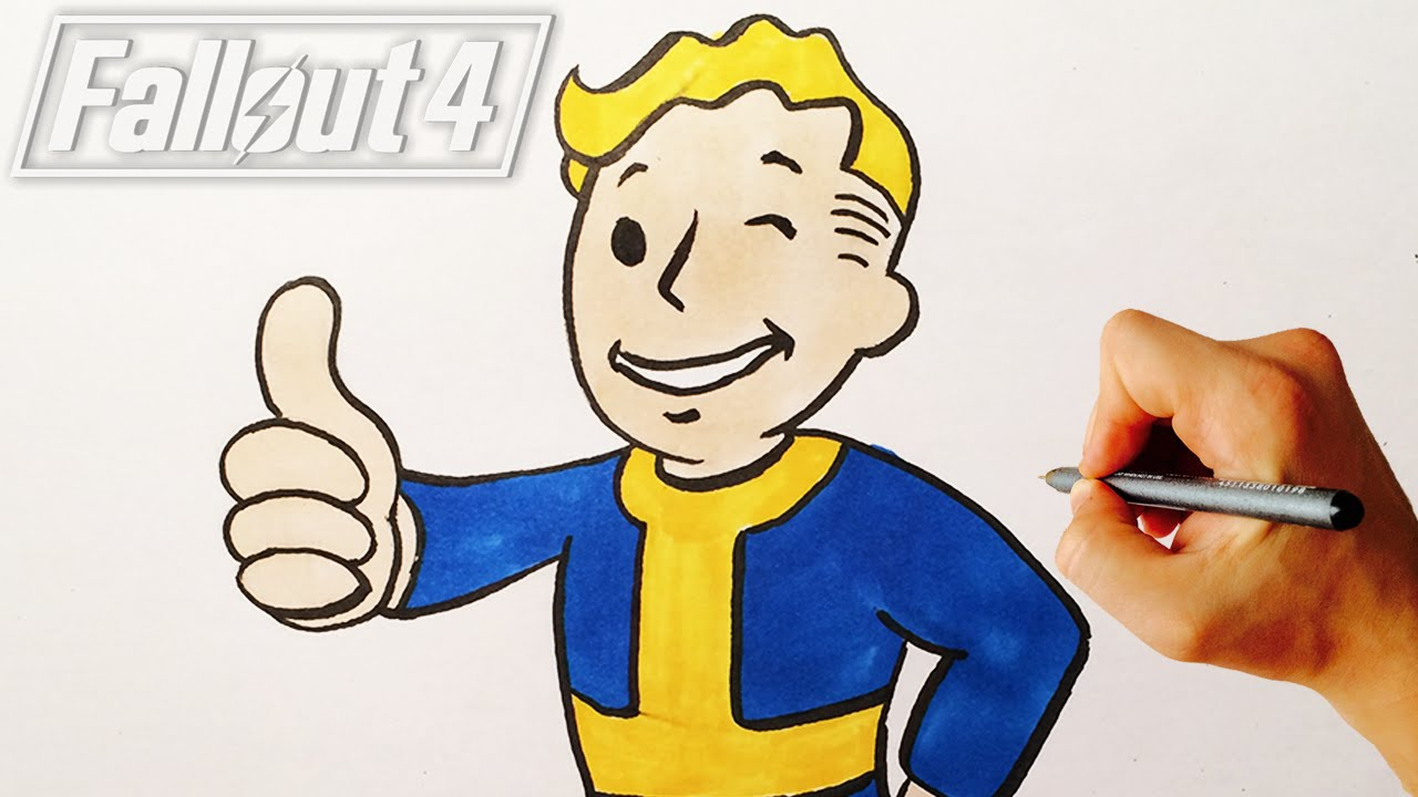 how to draw vault boy from fallout 4 drawing lesson youtube