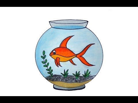 How To Draw A Fish Aquarium Easy And Simple, Fish Tank Drawing