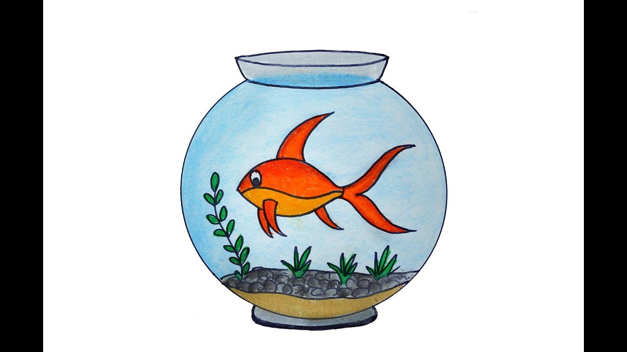 How To Draw A Fish Aquarium Easy And Simple Fish Tank Drawing Youtube