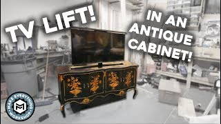 Adding a TV Lift to an Antique Cabinet!