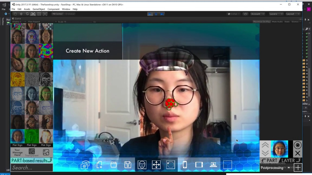 faceshop io + MoodMe - Face Tracking AR Studio for Unity - Early Demo