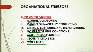 SOURCES OF STRESS ORGANIZATION BEHAVIOR