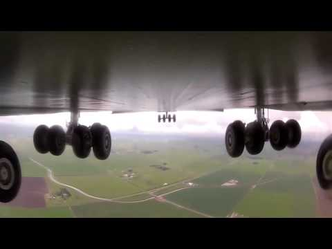 Video from the camera of military aircraft ultra large long range transport aircraft C 5
