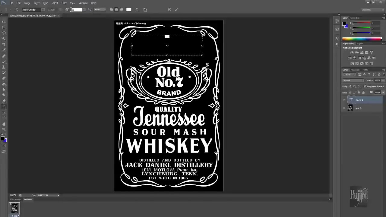 how to make jack daniels logo in photoshop quick easy youtube. Black Bedroom Furniture Sets. Home Design Ideas