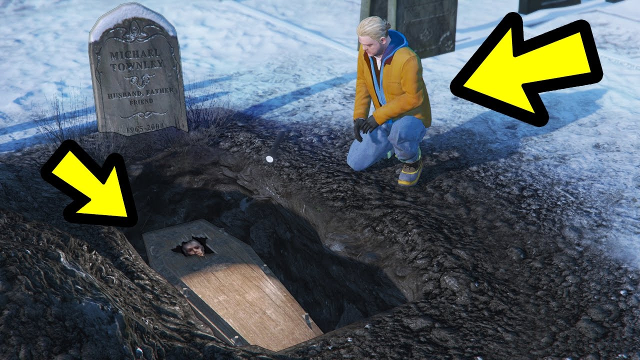 what happens if brad visits his grave before he dies gta