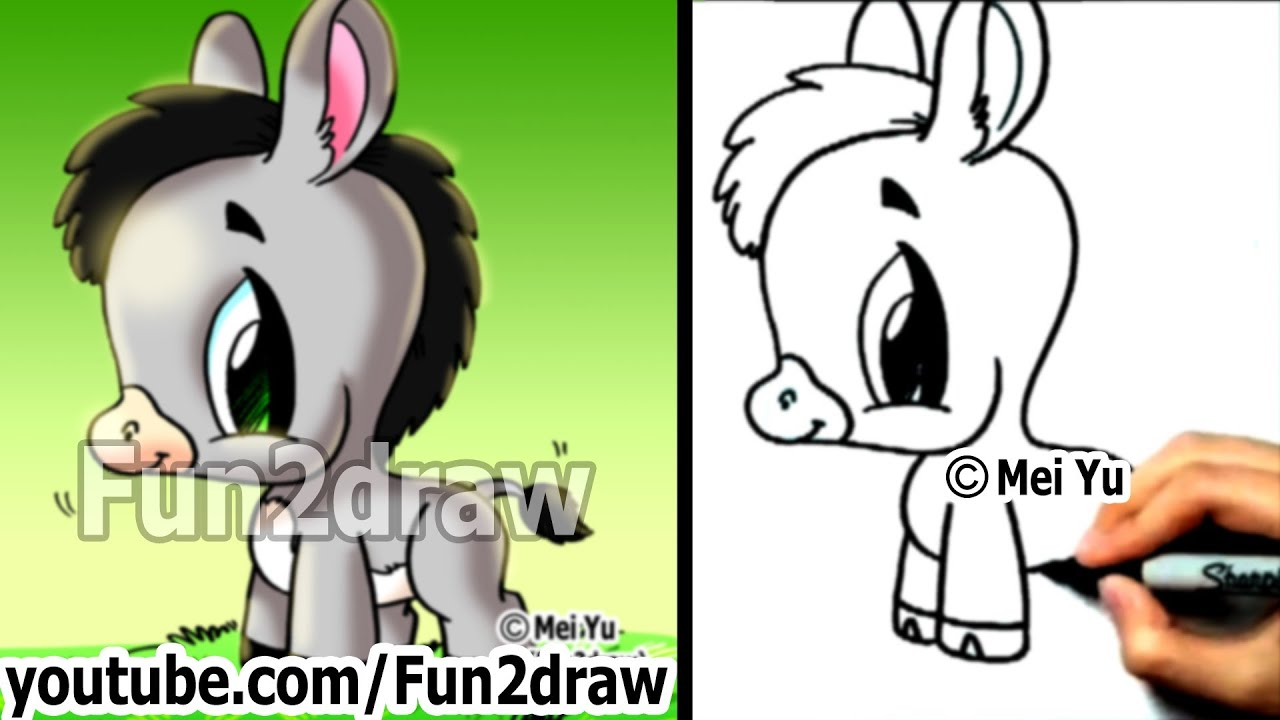 How To Draw Cute Cartoons  How To Draw A Donkey  Easy Things To Draw   Fun2draw  Youtube