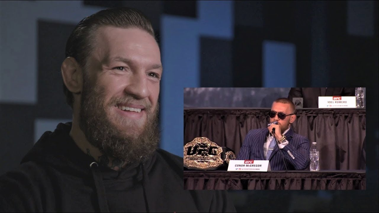 Conor McGregor reacts to his press conference highlights