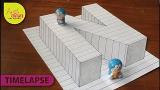 How to Draw 3D Letter N - Draw the Letter N in 3D - 3D Drawing - Easy Trick Art - Art Konna