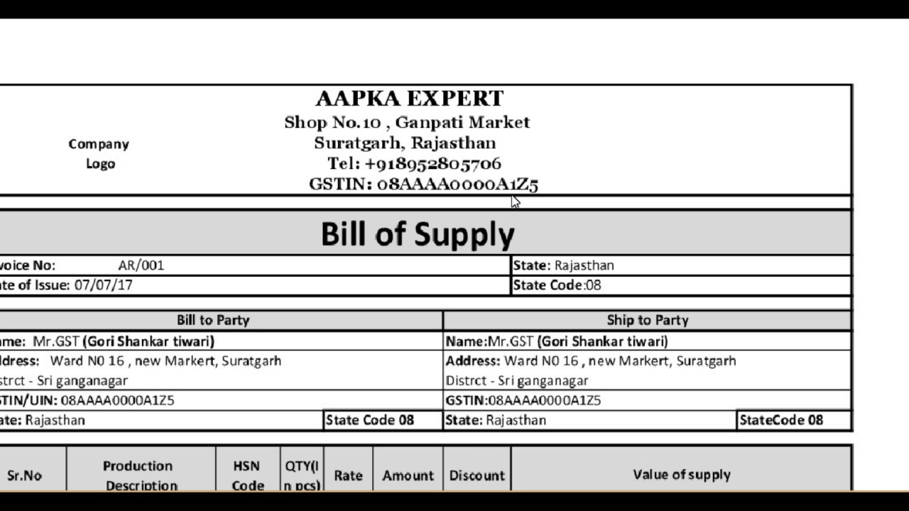 GST All about Bill of supply and its format YouTube – Billing Formats