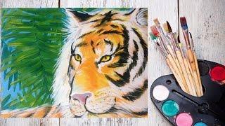 Как нарисовать тигра гуашью? #Dari_Art(Свои идеи к видео урокам оставляйте в группе ВК https://vk.com/dari_art_artist Для работы нам потребуется: гуашь (12 цветов..., 2015-11-05T08:40:46.000Z)