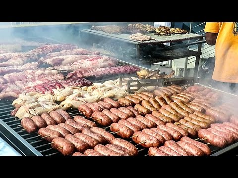 HUGE Grill of Beef, Chicken, Sausages. Street Food from Brazil Tasted in Italy