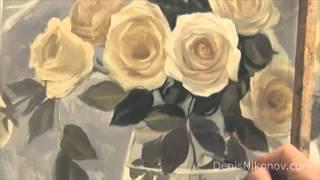 Зимние розы. Как написать букет белых роз