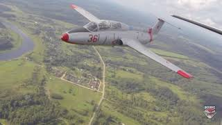 L-29 Delfin in formation with Cessna 210
