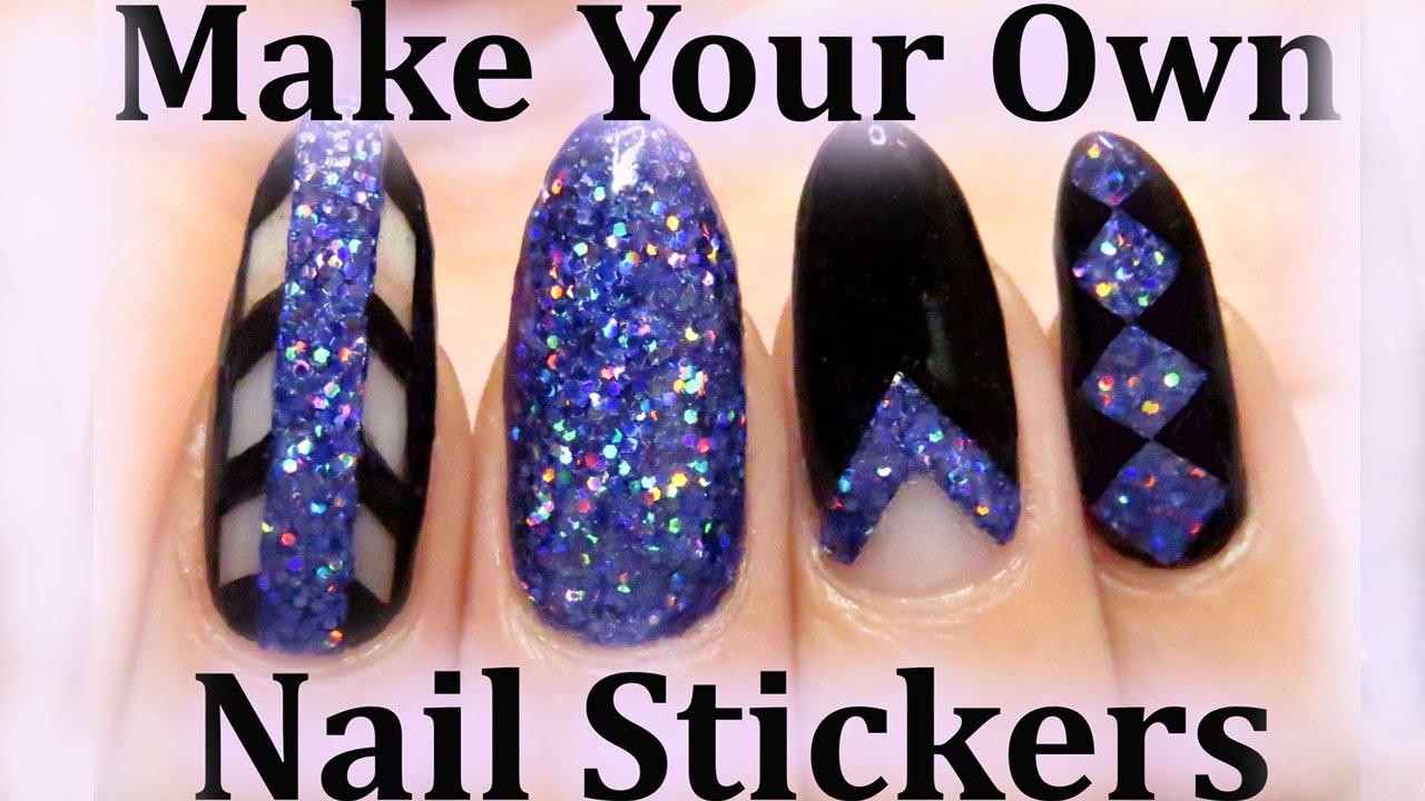 Easy glitter nails diy nail stickers youtube solutioingenieria Choice Image