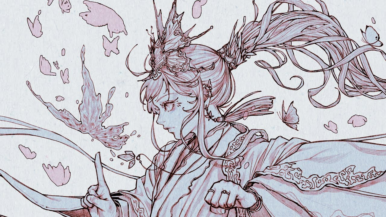 [Speed Painting] 스피드 페인팅 / 나비 선화작업 (butterfly line drawing)