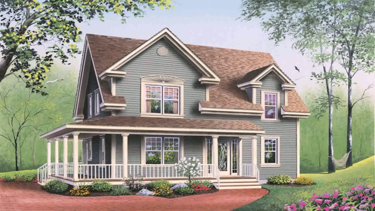 American Country Style House Plans   YouTube
