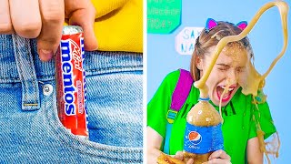 20 GENIUS SCHOOL PRANKS AND TRICKS  || Funny Food Hacks For School by 123 GO! GOLD