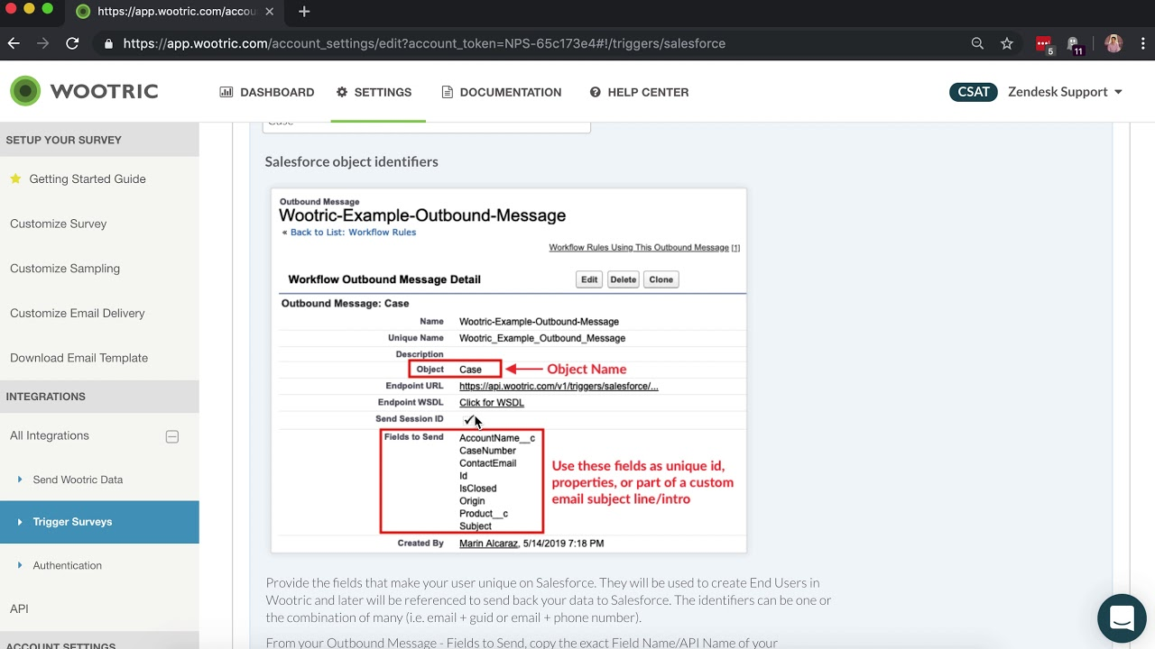 How to trigger surveys from Salesforce through Wootric